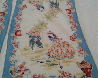 Two Spanish Dancer Vintage Tea Towels