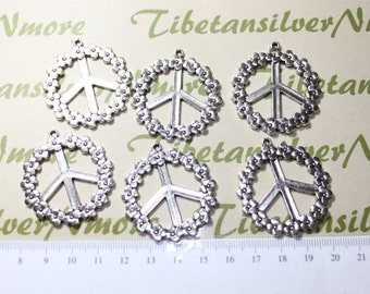 8 pcs per pack 36mm Large One side Flower Peace Sign Pendant in Antique Silver
