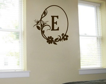 Oval Monogram with Flowers - Wall Decals - Your Choice of Letter - Your Choice of Color -