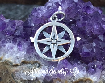 Compass Charm, Openwork Compass Charm, Two Layered Compass Charm, Sterling Silver Charm, Nautical Charm, PS01564