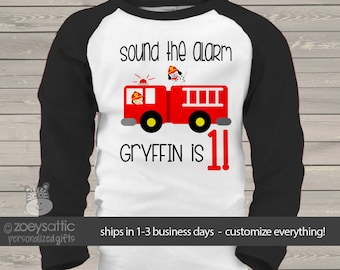 birthday firetruck  / little fireman shirt kids personalized birthday baseball raglan shirt MBD-087