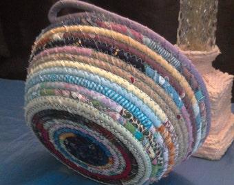 Coiled fabric bowl multi*boho basket*home decor*storage basket*gift basket*multi colored basket*bowl*clothesline basket*scrap fabric