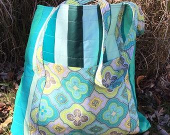 Tote Bag - Green Mozaic Quilted MegaBag - #MB-07