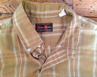 Vintage John Wells traditional tapered shirt Sz L