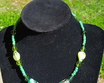 Green & lime glass beaded necklace