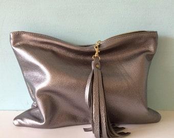 Silver leather clutch purse, metallic fold over clutch, ipad bag