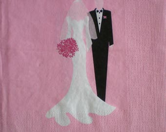 WEDDING themed paper napkin - Married Couple... 33 cms