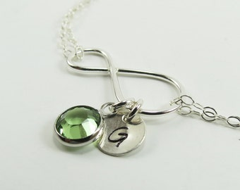 Personalized Bracelet, Infinity Bracelet, Birthstone Bracelet, Gift for her, Gift for mom , Swarovski Crystals, Bridesmaids Gift