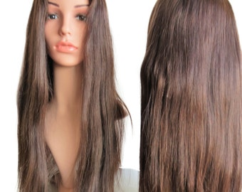 Human hair lace front wig ca. 56 cm Brown # 2, Cape L top quality