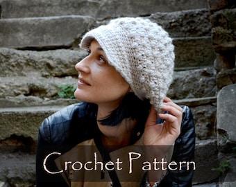 CROCHET PATTERN - Newsboy Hat Pattern Visor Cap Crochet Pattern Crochet Billed Baseball Winter Hat Pattern (Child, Teen, Adult) PDF - P0055