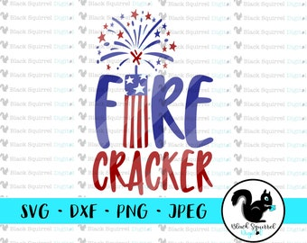 4th of July, Fire Cracker, American Flag, Fireworks Stars and Stripes SVG, Clipart, Print and Cut File, Stencil, Silhouette, dxf, png, jpg