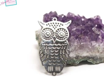 """8 print/chandelier filigree a.016 """"owls"""" 40 x 22 mm, stainless steel"""