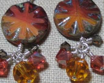 Sunburst Cluster Dangle Earrings - E788