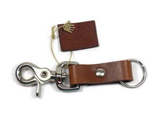 Leather key ring, key ring, key fob, key chain, light brown key ring, key ring with trigger snap, leather key chain, Easter gift