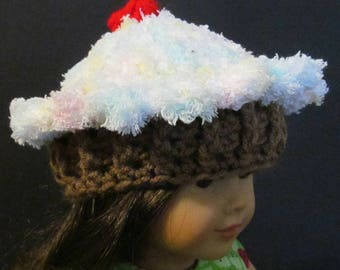 """Crochet Cupcake Hat ~ Fits 18"""" doll ~ Variegated pink, blue, gree, yellow and white top with medium brown bottom"""