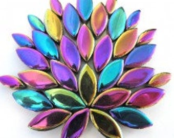 Purple Blue Green Metallic Iridescent Glazed Ceramic Petal Leaves Colorful Mix (35-40)//Mosaic Supplies//Mosaic Pieces//Crafts//Mosaic Tiles