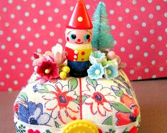 Vintage Cute Tiny Wooden Gnome Doll Pin Cushion