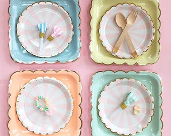 Pastel Paper Plates, Large Party Plate in Peach - Blue - Mint - Yellow with Scalloped Gold Edge, Meri Meri Pastel Party Decor