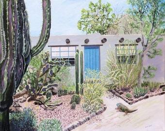 Landscape Wildlife Painting of Desert Botanical Gardens and an iguana.