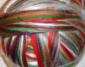 Roving Merino Wool Tussah Silk Roving Fiber for Spinning and Felting -  Multi-Color - Autumn - 8oz