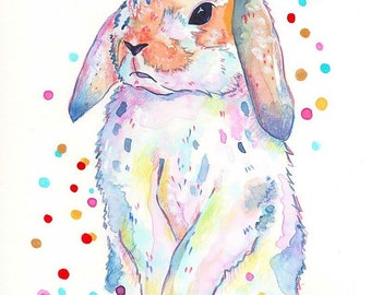 "Art Print watercolor Illustration ""Rabbit""-Signed-. Rabbit"