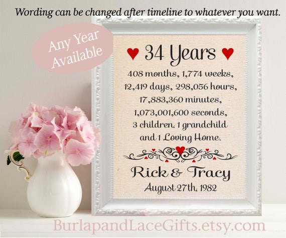 Wedding Gift For Your Wife: 34th Anniversary Gift To Wife Gift To Husband Anniversary Gift