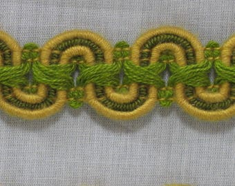Destash trimmings: 5.50 metres of bronze green/yellow/green stripe Cup