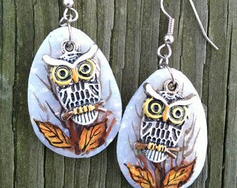 Owl Earrings, Owl Charms, Polymer Clay, Handpainted Owl Earrings, Owl Dangle Earrings, Fall Leaves, Clay with Glitter