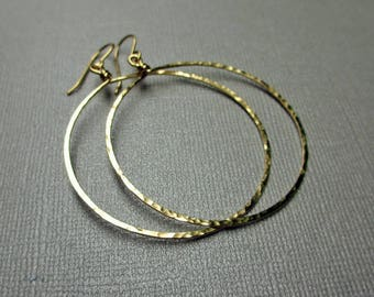 Gold Fill Hoop Dangle Earrings, 14 KT Yellow Gold Fill, Hammered Hoop earrings , Modern Jewelry, 1.5 inch, Big Hoop earrings, Gold hoops