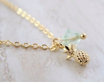 Mini Pineapple Gold Chain Necklace with Swarovski Crystal Accent