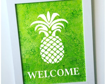 Hand-painted Pineapple Ink Painting / Pineapple Wall Art / Pineapple Welcome Sign