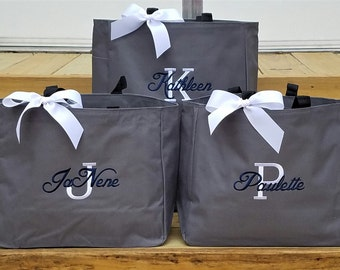 Set of 5 Personalized Tote Bag Bridemaid Bags Personalized Gifts Wedding Tote Bag Monogram Monogrammed