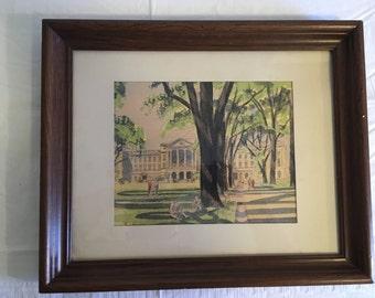 Watercolor University of Wisconsin Madison Campus Quad Paul Andrews 1967