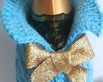 Rush order! Chic and stylish handmade knit champagne bottle holder
