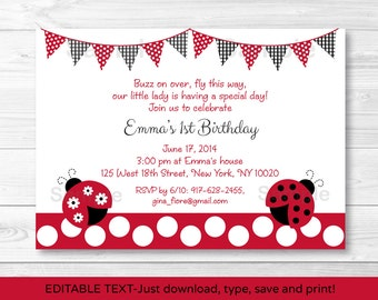 Ladybug Birthday Invitation / Ladybug Birthday Invite / Ladybug Birthday Party / Red & Black / Printable INSTANT DOWNLOAD Editable PDF A254