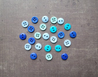 80 buttons 8 mm shade of blue and Turquoise