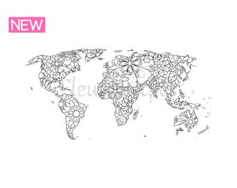 World map coloring etsy coloring page world map instant download unique hand drawn artwork coloring pages floral books wall art printable fleurdoodles gumiabroncs Gallery