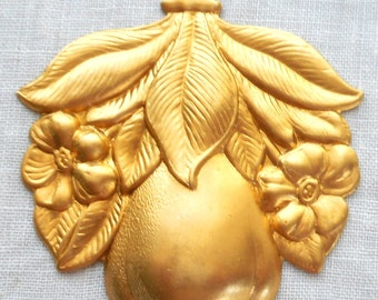 1 raw brass art nouveau, deco, victorian pear fruit, pendant, charm, brass stamping, 43mm x 48mm, made in the USA C2601