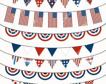 4th of July Bunting Clip Art Set - blue white red printable digital clipart - instant download