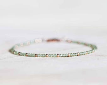 Peridot Bracelet with Rose Gold Fill or Sterling Silver, Ultra Delicate August Birthstone Bracelet, Peridot Jewelry, Green Gemstone Bracelet