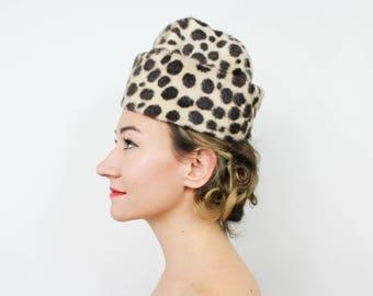 60s Faux Leopard Hat