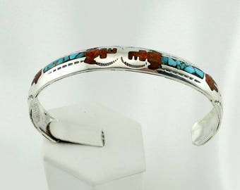 Collectable Hallmarked Porfilio Sheyka Zuni Native American Turquoise and Coral Inlay Corn Dancer Cuff Bracelet FREE SHIPPING! #SHEYKA-CF7