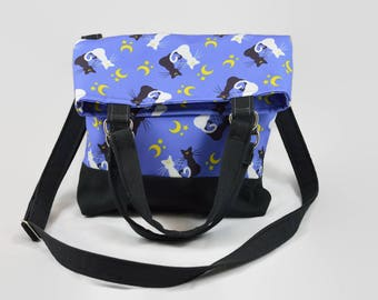 Moon Magical Girl Fold-over Crossbody Bag - Luna and Artemis - Kawaii Purse / Handbag - Moon Magical Girl Cat Bag - Unique Anime Fan Gift