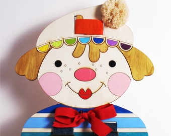BUTTONS, Gift Idea, Wooden CLOWN, For boys, For girls, Lacing doll, Small Motors Activity, Wood doll, Dressing Skills Practice