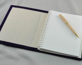 """Purple Velvet covered handmade and refillable 6"""" x 8"""" journal with 100% recycled paper"""