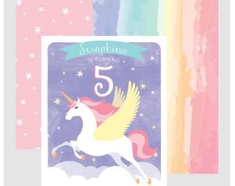 Unicorn birthday invitation, pegasus birthday, unicorn birthday, rainbow unicorn