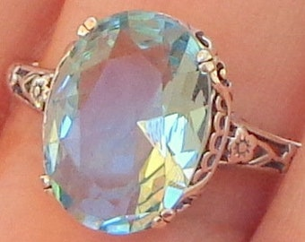 Size 10, 5ct. Sky Blue Topaz, Sterling Silver Setting, Delicate Filigree Design, Mother's Day, Ladies Gift, Promise Ring, Lady's Ring