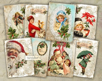Christmas Story - digital collage sheet - set of 8 cards - Printable Download