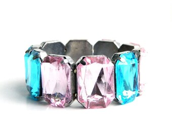 "Vintage Blue Pink Rhinestone Stretch Bracelet - Lucite Plastic Emerald Cut - Child - Baby - Bold ~ 1"" High"