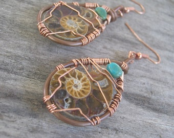 Ammonite Turquoise Earrings, Pair of Nautilus Fossil Earrings, Upcycled Copper Wire Wrapped, Statement Earrings, Dangle Earrings